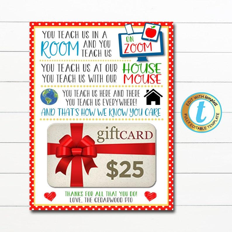 Virtual Teacher Appreciation Gift Card Holder Thank You | Etsy