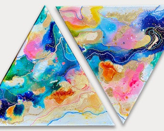 """Original Painting """"Angels on the Moon"""" 14 in x 16 in. Triangular Canvas"""