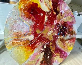 """Original Painting """"Scarlet Tide"""" 16 in. diameter"""