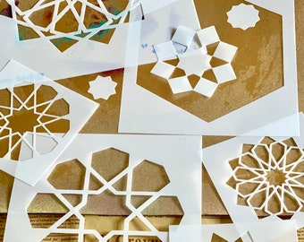 Islamic Art Stencil Kit (6 Designs + 1 Hexagon Border + Assorted Small Stars)