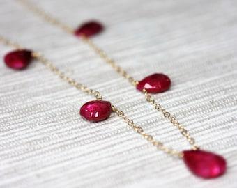 Ruby necklace - 14K gold filled
