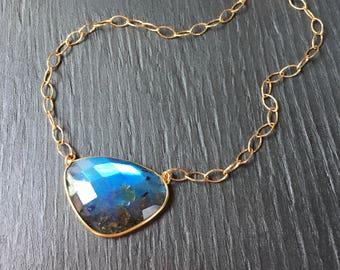 Blue flash labradorite necklace