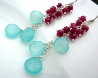 Last one. Bright Colors Beadwork Cluster Earrings. Ruby and Chalcedony Drop. Raspberry and Aqua Dangle. Chandelier.
