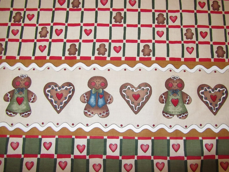 GiNGERBREAD BORDER PRiNT ViNTAGE DiANNA MARCUM Cotton Fabric Grandma/'s Gingerbread 1 yard 32 X 45