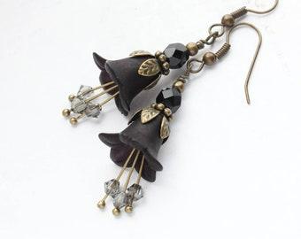 leaf flower bohemian long earrings Forest Fairy OOAK green metallic brown earrings Japaneze bead mix Beaded earrings tassels boho
