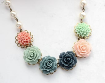 c588628e0f7 Floral Bib Necklace, Navy Blue and Blush Pink, Rose Necklace, Statement  Jewelry, Ivory Cream Pearl Chain, Dusty Sage Mint, Chrysanthemum