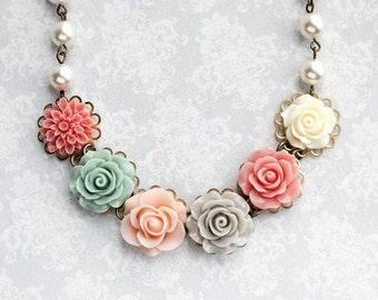 Pale Pink Floral Necklace Colorful Wedding Coral Dahlia Light Grey Aqua Sage Green Rose Pearl Chain Flower Bib Unique Bridesmaids Gift
