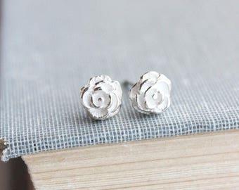 Little Rose Studs, Silver Studs, Flower Earrings, 925 Sterling Silver, Stud Earrings, Dainty Earrings, Surgical Steel Posts, Small Roses