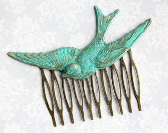 Purple bird hair comb,Flying Swallow hair comb,Elegant Wedding gift,Bridal Hair Accessories,Unique gift,Girls gift,Stocking stuffers