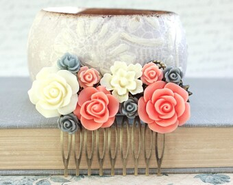 Coral Peach Pink Cream Rose Flower Hair Comb Fascinator Floral Bridesmaid 6715