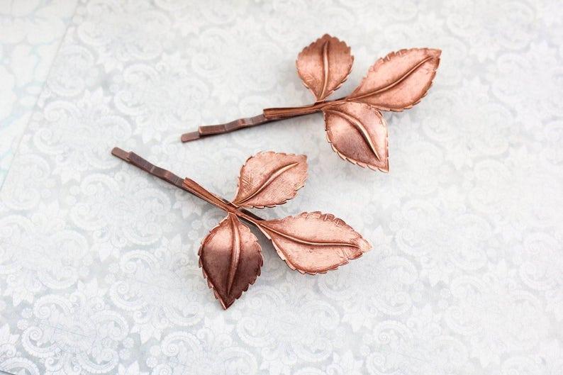 Paire d/'Or et Or Rose Feuille Motif Perle Cheveux Diapositives Poignées Clips Broches Bijoux
