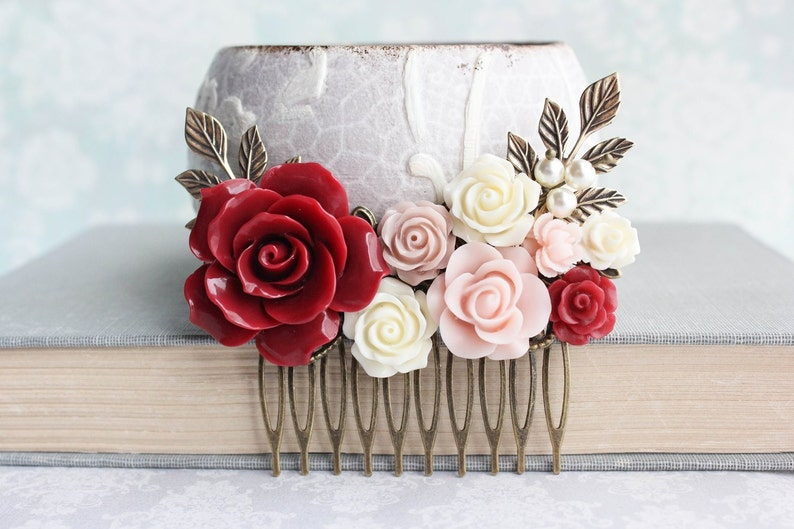Rose Hair Comb Vintage Style Wedding Deep Red Rose Pink Floral Collage Romantic Pearl Hair Piece Bridemaids Gifts Antique Gold Branch Comb