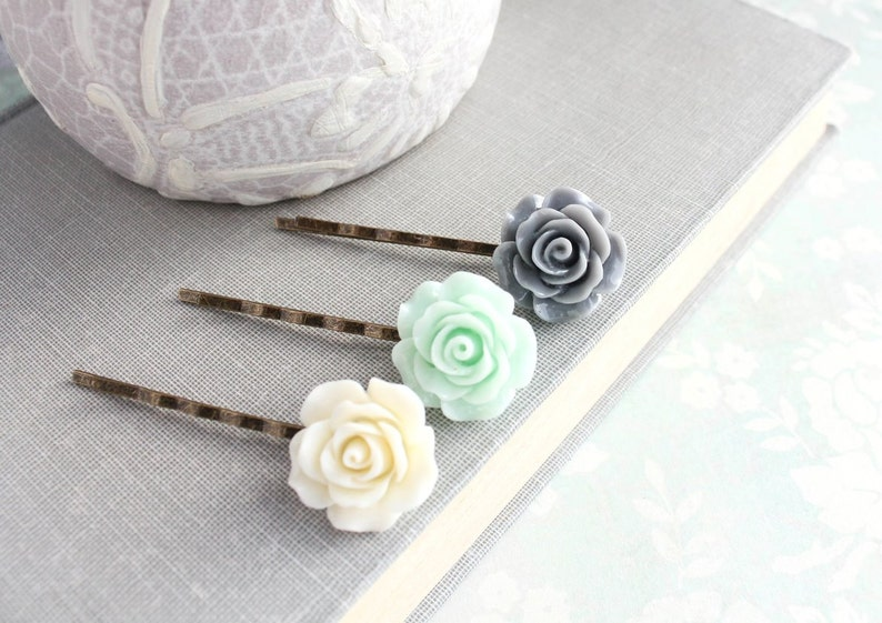 Mint Rose Hair Pins Flower Bobby Pins Grey Rose Hair Accessories Floral Hair Pins Hippie Gift for Her Wedding Accessories Flower Girl Gift