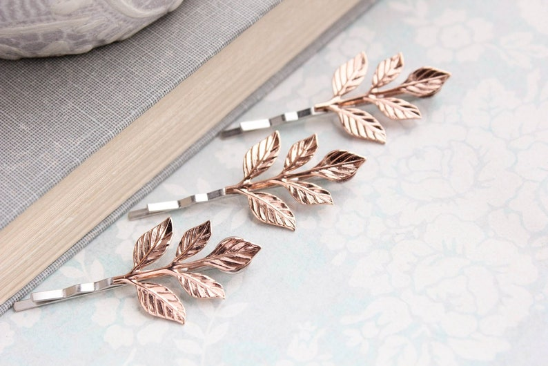 Rose Gold Branch Bobby Pins Leaf Hair Pin Leaf Bobbies Nature Woodland Wedding Rose Gold Leaves Bridal Hair Accessories Grecian Clips