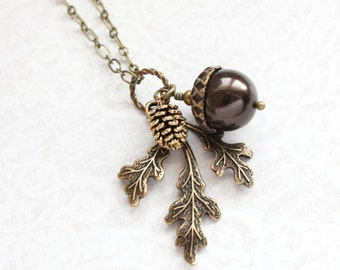 Brown Pearl Pendant Necklace (16 colors) Pearl Fall Charm Nature Inspired Pinecone Branch Leaf Rustic Oak Woodland Wedding Autumn Jewelry