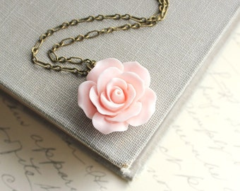Pink Rose Necklace Country Chic Flower Jewelry Pastel Fashion Floral Jewellery Bridesmaids Gift Bridal Necklace Botanical French Style