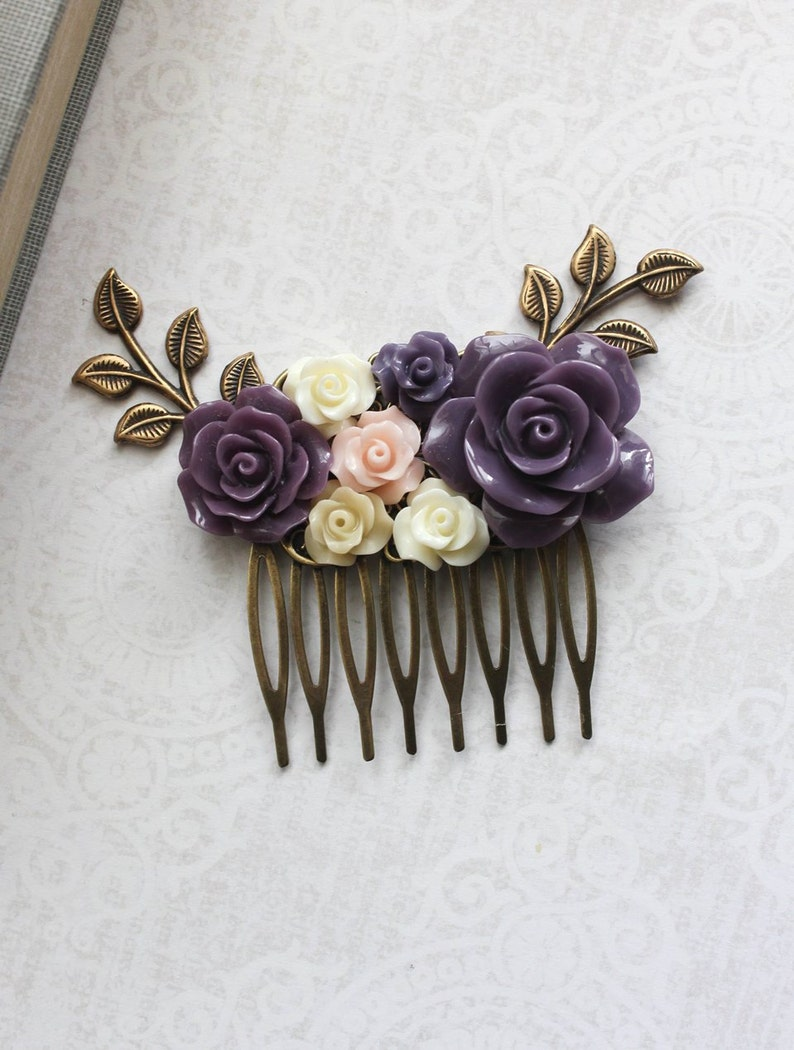 Purple Flower Hair Comb Blush Pink Rose Comb Floral Collage Hair Accessories Bridal Hair Comb Bridesmaids Gift Purple Wedding Branch Comb