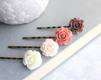 Rose Bobby Pins Ivory Cream Floral Hair Accessories Chocolate Brown Light Pale Peach Rose Hair Clip Coral Rose Bobbies Flowers for Hair