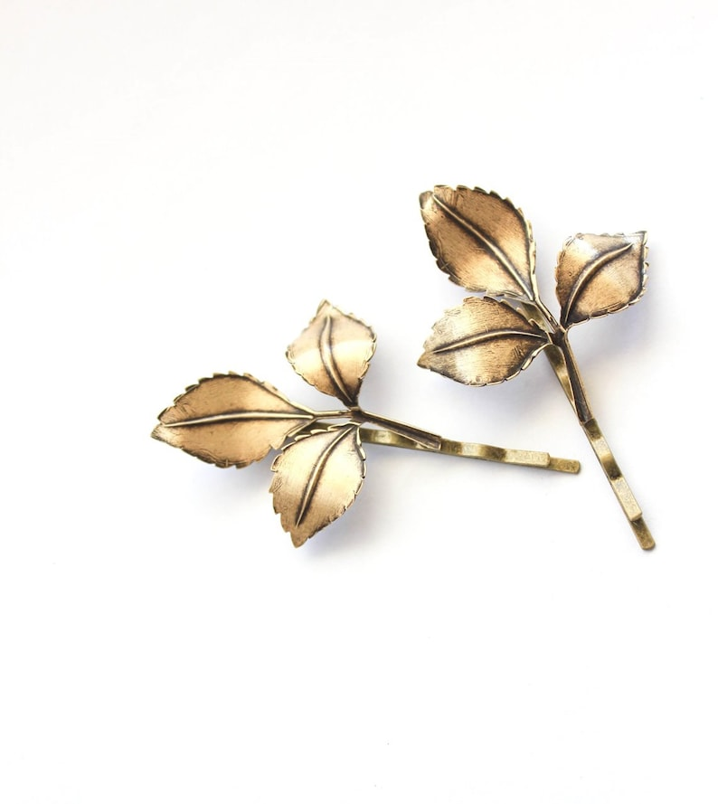 Branch Bobby Pins Nature Hair Accessories Antiqued Gold Leaf image 0