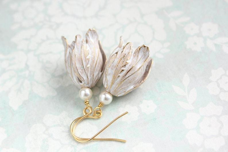 Shabby Floral Brass Dangles