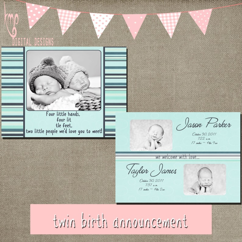 twin birth announcements template card 5x7 front and back psd layered  INSTANT DOWNLOAD cs and elements for photographers
