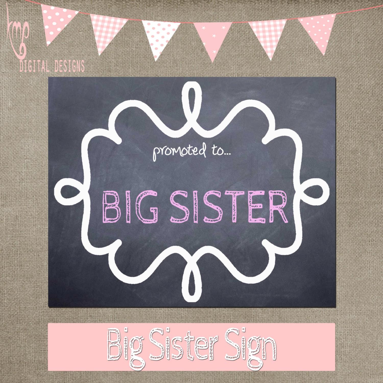 Big Sister Chalkboard Sign Chalk Photo Prop Big Sister Sign Etsy