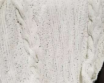 Beautiful, cabled, soft hand knit throw