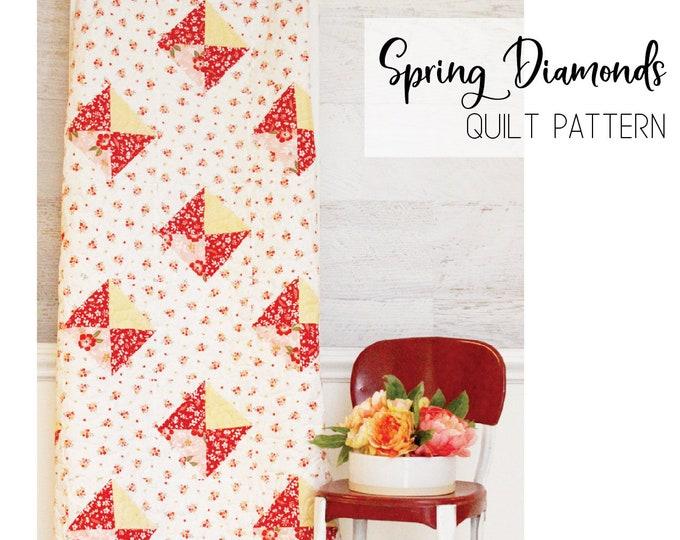 Spring Diamonds Quilt PDF Pattern DOWNLOAD