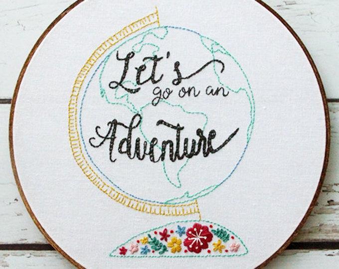 Floral Vintage Adventure Globe Embroidery Pattern