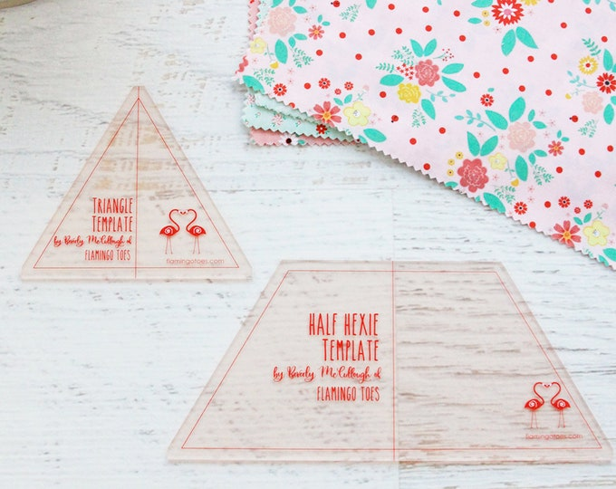 Half Hexagon and Triangle Acrylic Quilting Template Set