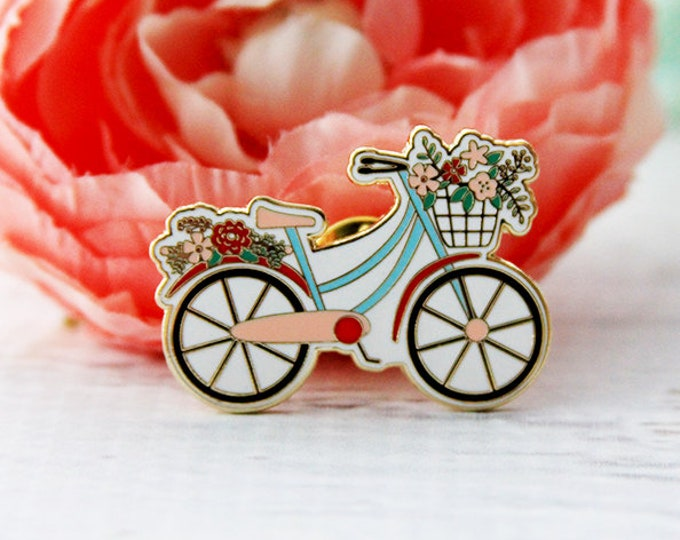 ENAMEL PIN - Floral Vintage Bicycle