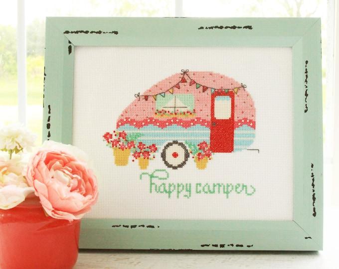 Happy Camper PAPER Cross Stitch Quilt Pattern