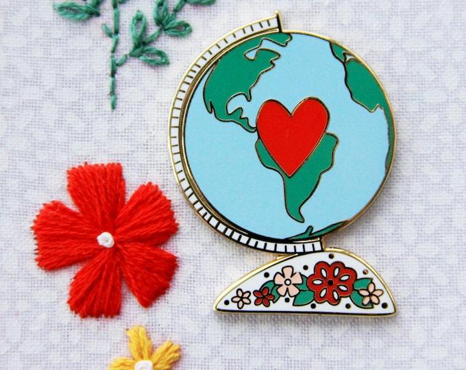 Floral Vintage Globe - Magnetic Embroidery Needle Minder