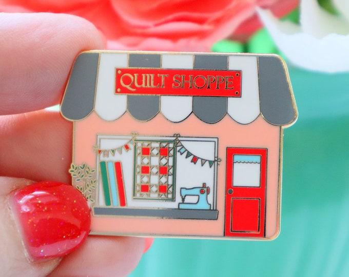 Quilt Shoppe Shop Enamel Pin - Main Street Shops Series