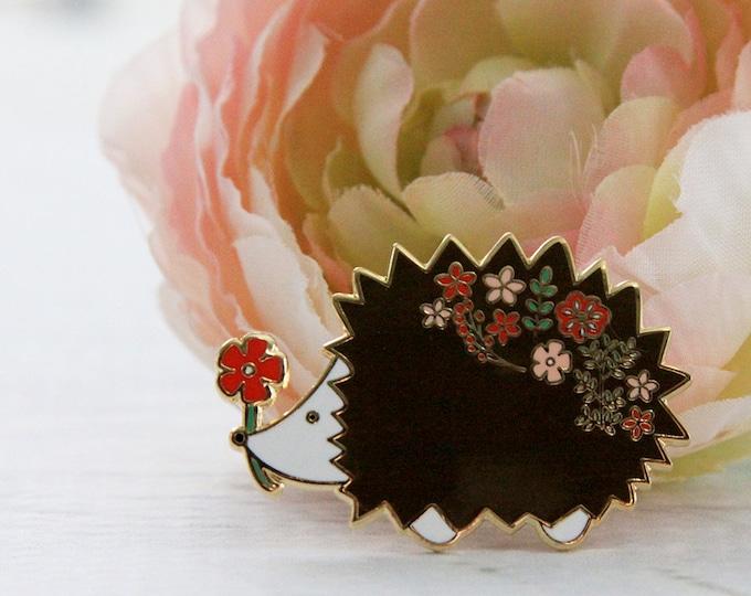 ENAMEL PIN - Floral Hedgehog