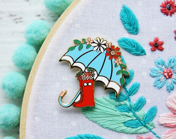 Floral Umbrella and Rain Boots - Magnetic Embroidery Needle Minder
