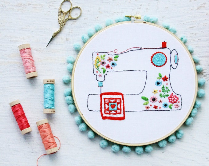 Floral Sewing Machine PDF Embroidery Pattern