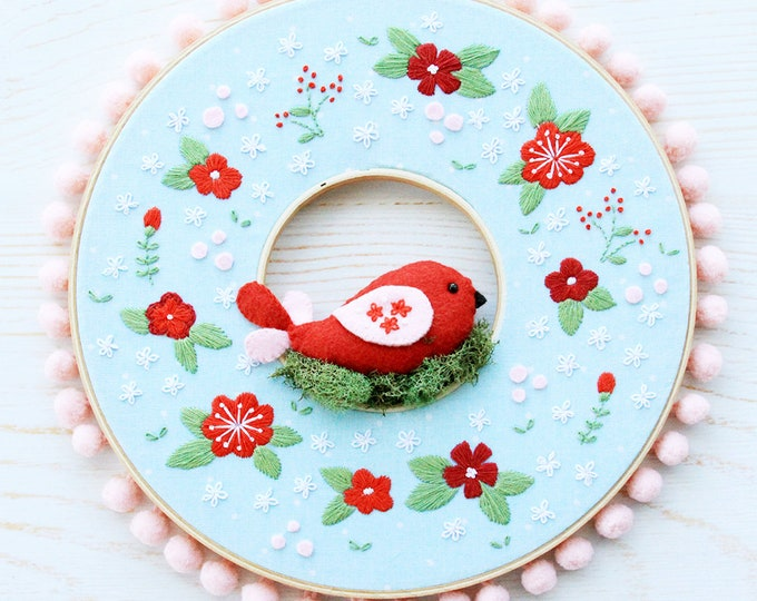 Winter Embroidery Hoop Wreath Pattern