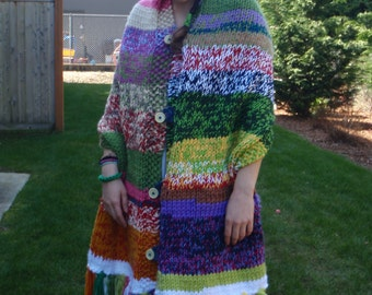 All Kinds of Rainbow Knit Shawl with Fringe and Hood Free Shipping in USA