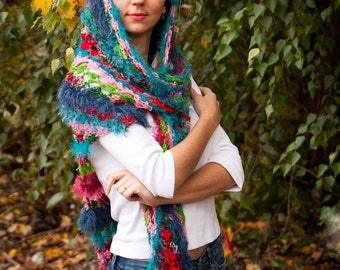 Fuzz Boho Shawl Scarf Colorful Bright Eyelash Yarn Multicolored Soft