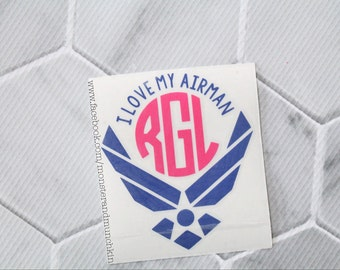 I Love My Airman decal, Air Force Wife, Milspo, Decal, Air Force decal, Monogrammed, Monogram, Personalized, USAF Proud Air Force Girlfriend