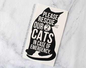 Cat decal, cat sign, cat safety, please rescue my cat, cat rescue, Crazy Cat Lady, Cats, Cat, Vinyl, Decal, in case of emergency