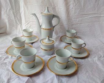 Naaman Ltd. Tea Set Vintage 1960s Retro Teas, Espresso or Coffee Set-Pure White Gold Trim-Pot, Sugar Bowl, 6 Cups Saucers