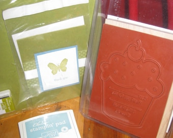 SALE Stampin' Up Mix and Match Destash Kit with Stampin' Up Ink Pads, Birthday Thanks Large Rubber Stamp, 1 Card, Card Stock, 1 Inch Ink Pad
