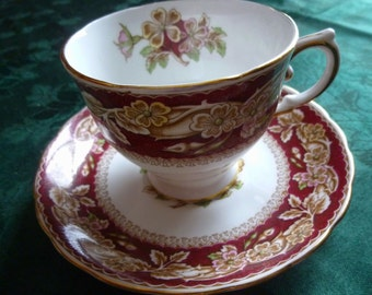 SALE! Briar Rose Tuscan Fine English Bone China Teacup and Saucer-Vintage 1940 Downton Abbey