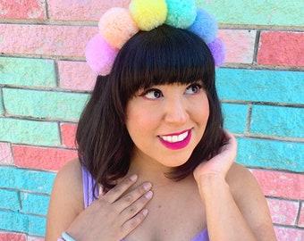 Pastel Princess Pom Pom Headband