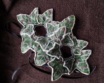 Winter Queen Beaded Green Woman Mask One of a Kind Handmade Faery Fairy LARP Renfest