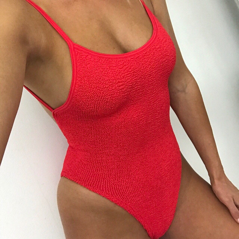 229d0e5857 Red Cami High Cut One Piece Swimsuit   Body in Red Crinkle