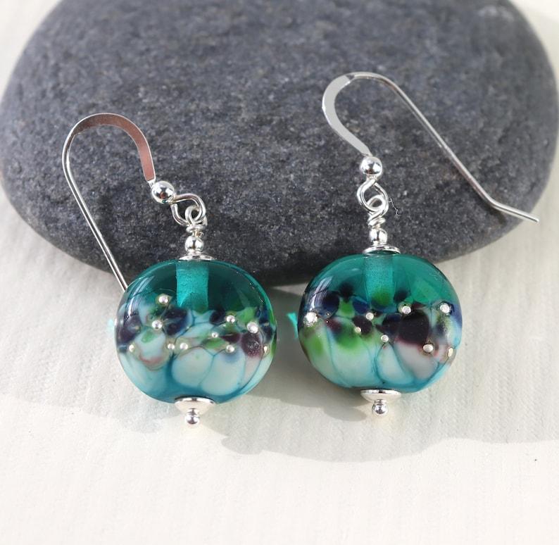 Teal Green /& Turquoise Lampwork Glass Bead Earrings Handmade in Sweden by Marianne Degener Sterling Silver SRA