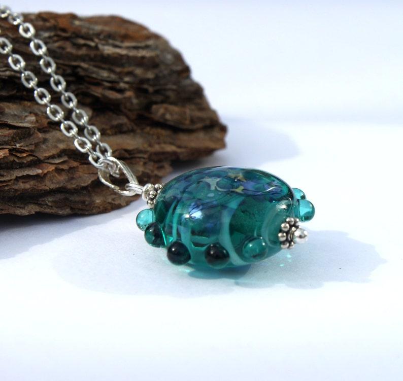 Handmade Glass Pendant Glass Jewelry Turquoise Glass Bead Pendant Sterling Silver Lampwork Jewelry Lampwork Bead